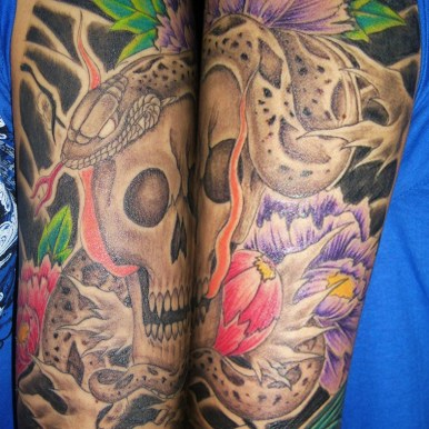 蛇 髑髏 牡丹 skull