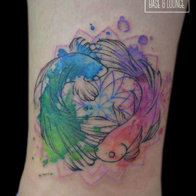 鯉 金魚 水彩画風 watercolor