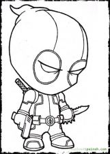 Funny Deadpool Cartoon Coloring Page Free Printable - Letscolorit.com