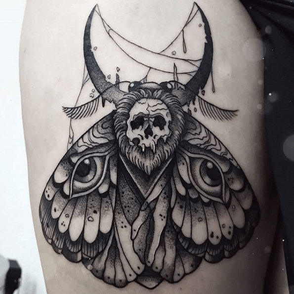 detailed moth tattoo