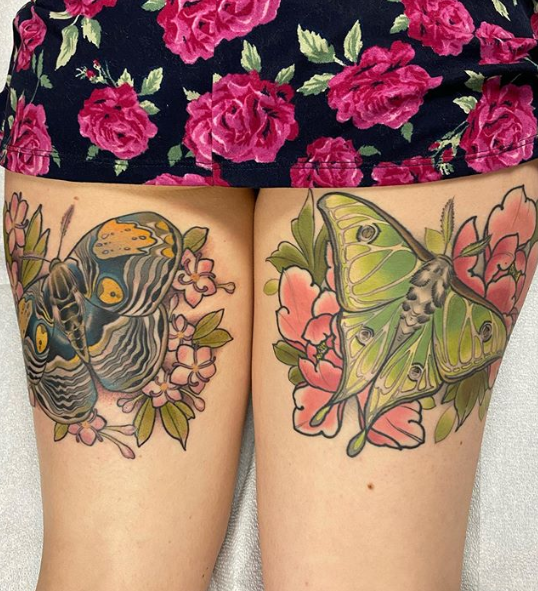 luna moth tattoo designs