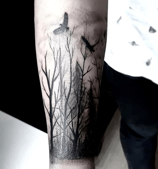 forest forearm tattoos