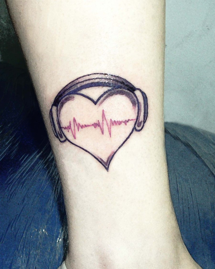 Amazing Tattoos Heart Beat With Dates: Love Music Tattoo