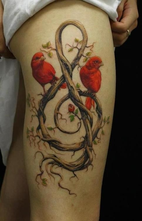red ink tattoo two birds treble