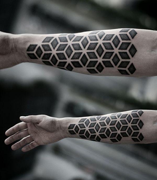 hand tattoo rectangular geometric