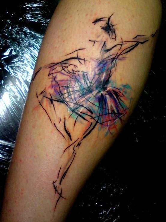 Colorful Ballerina Tattoo Tattoomagz