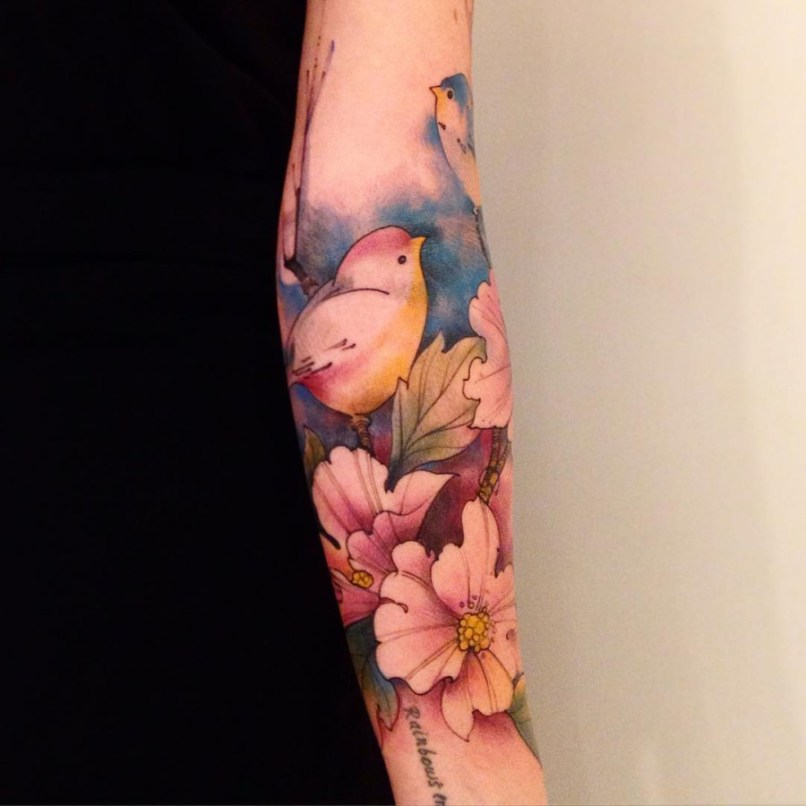 c3ef8181c Watercolor Flower Half Sleeve Tattoo   mountainstyle.co