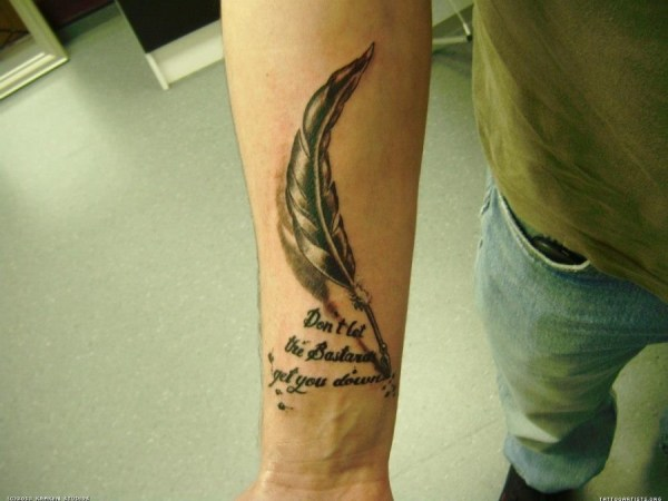 20 Feather Pen Tattoos With Quotes Inside Ideas And Designs