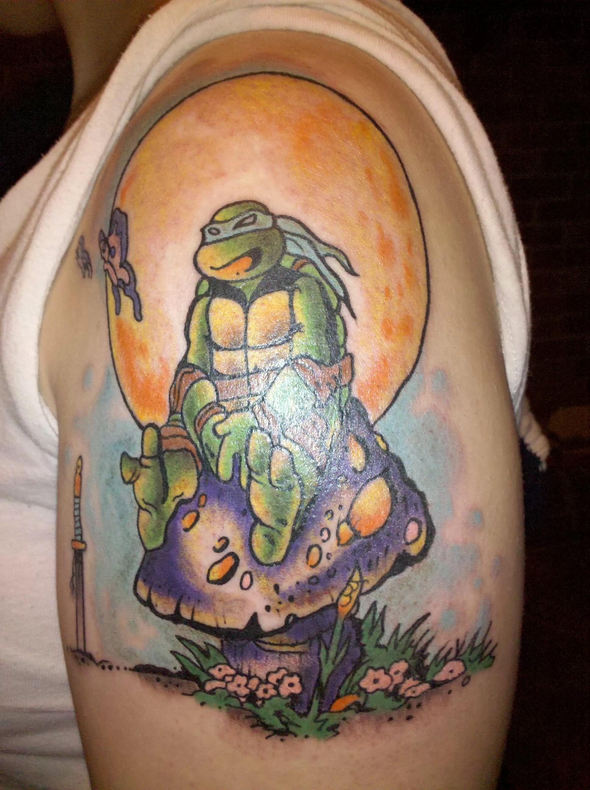 Ninja Turtle Sitting On Mushroom Tattoo Tattoomagz