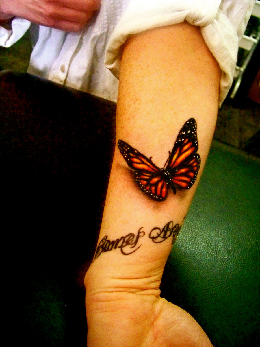 3D quote and red butterfly tattoo   TattooMagz  Tattoo