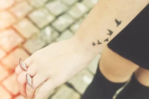 Birds Flying Tattoo On Wrist