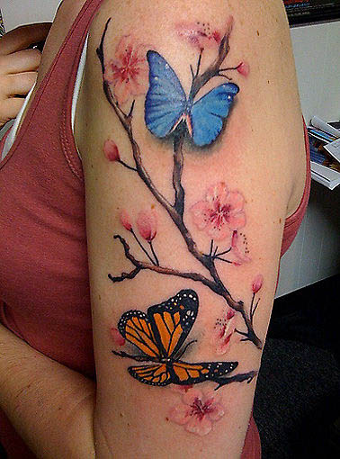 Beautiful Life Like Butterflies And Flowers Upper Arms