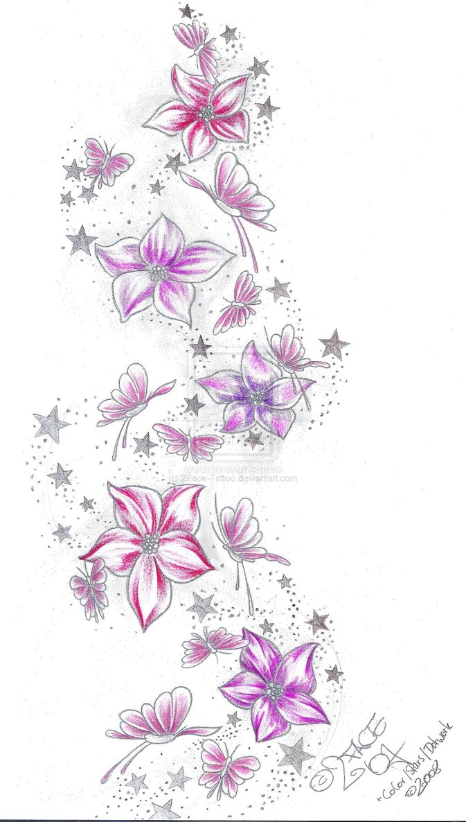 Tattoo Design Flowers And Stars