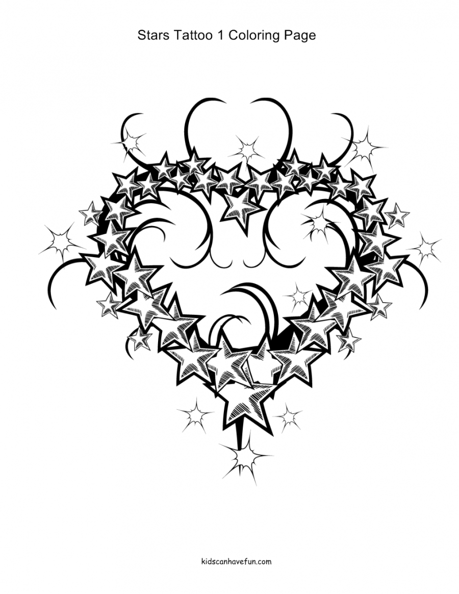 Tattoo Coloring Pages Animals Flowers Hearts
