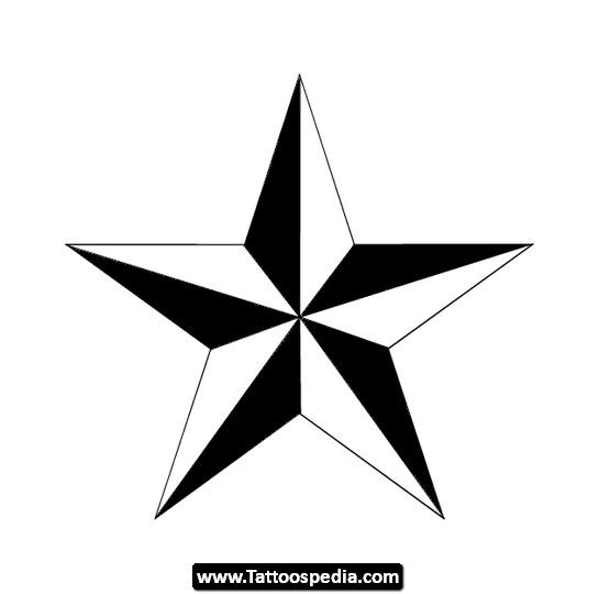 Black And White Nautical Star Tattoo Design