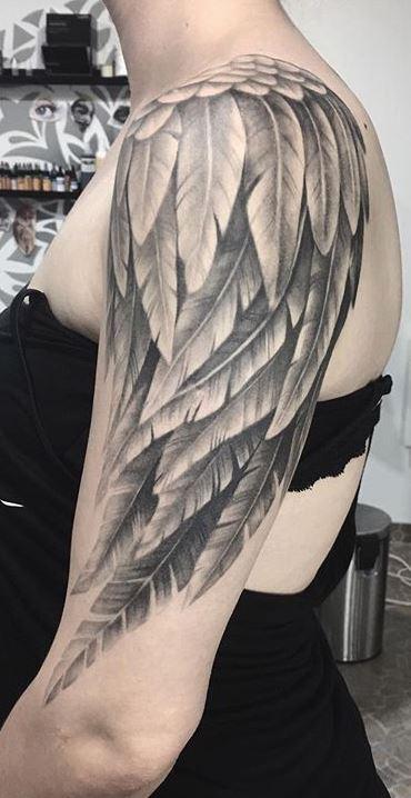 Angel Wings Sleeve Tattoos : angel, wings, sleeve, tattoos, Divine, Angel, Wings, Tattoos, Ideas, Meanings, Tattoo