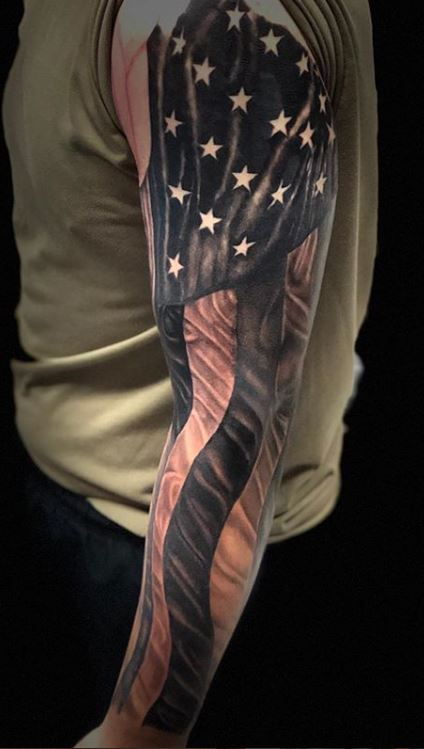 American Flag Sleeve Tattoos : american, sleeve, tattoos, Patriotic, American, Tattoos, Tattoo