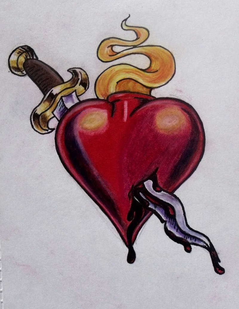 Dagger Through Heart Tattoo Designs