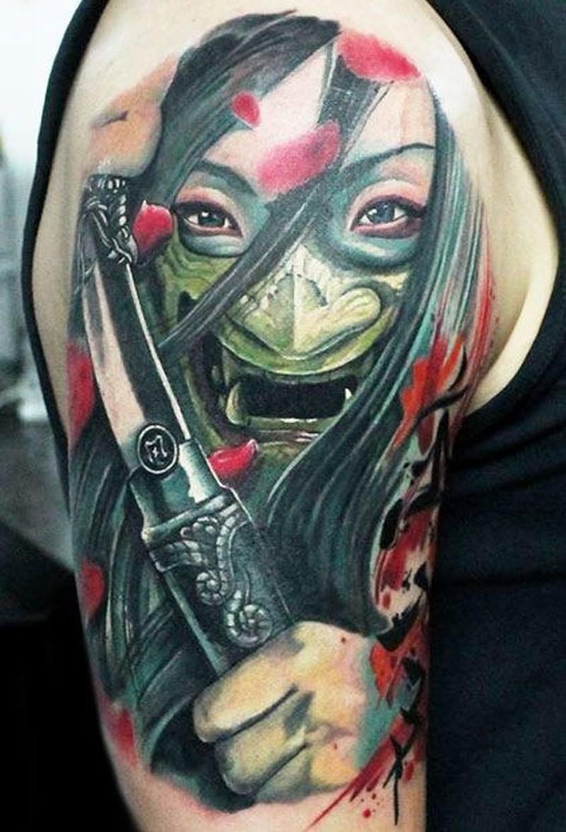 Japanese Samurai In Mask Tattoo On Half Sleeve Tattoos Book