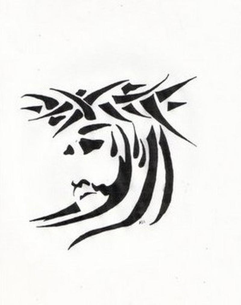 Jesus Cross Tribal Tattoo Designs