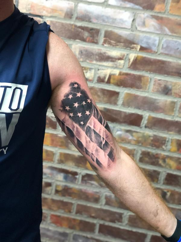 Black And Grey Flag Tattoo : black, tattoo, Black, American, Tattoo, Tattoos