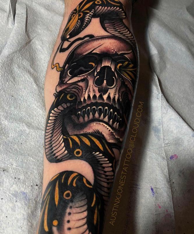 Skull Snake Tattoos : skull, snake, tattoos, Skull, Snake, Tattoo, Mcgrath:, TattooNOW