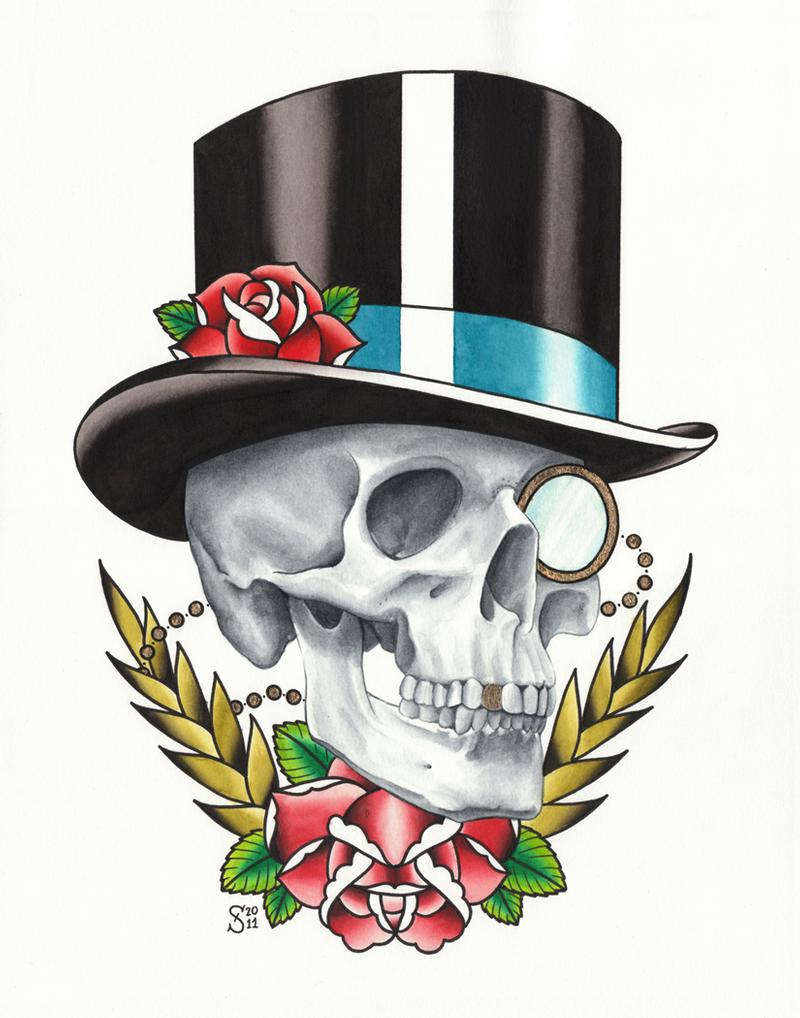 Skulls With Top Hat Tattoos : skulls, tattoos, Skull, Sweety:, TattooNOW