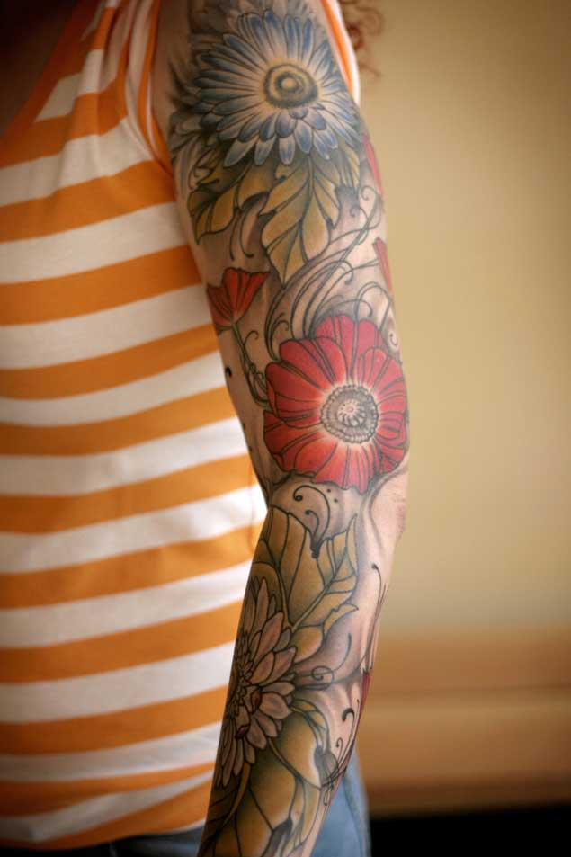 30 Fabulous Floral Sleeve Tattoos For Women Tattooblend Ideas And Designs