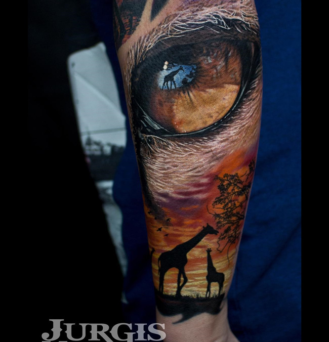 Lion S Eye Giraffes In This Africa Sleeve Best Tattoo Ideas And Designs