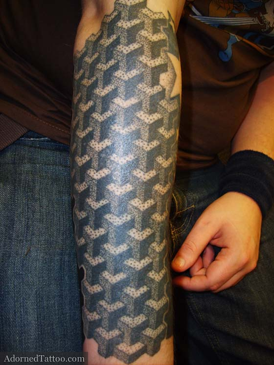 Dotwork Cubes Geometric Forearm Tattoo Adorned Tattoo Ideas And Designs