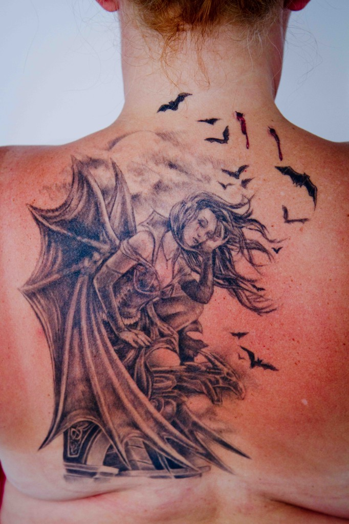 Gretchens Vampire Girl Back Tattoo Ideas And Designs