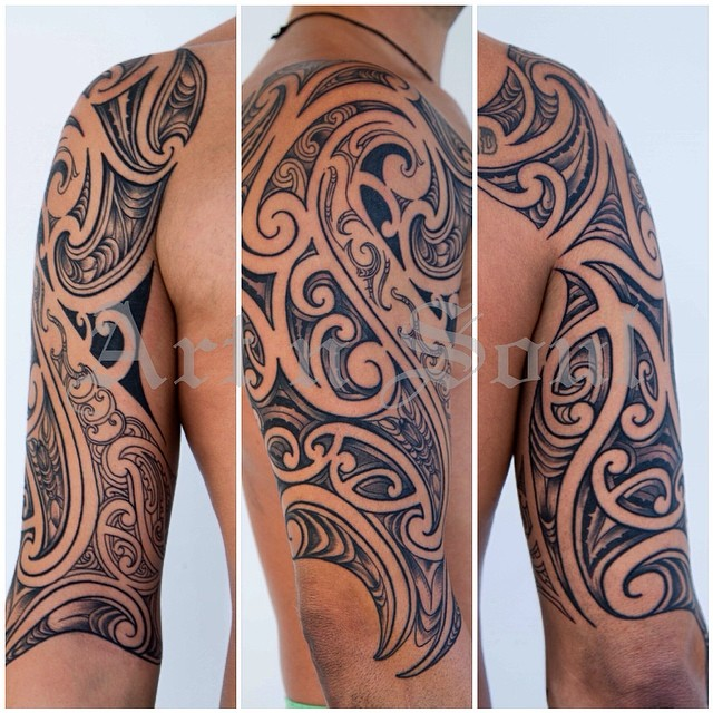 Clean Sharp Lines On This Blackandgray Halfsleeve Ideas And Designs
