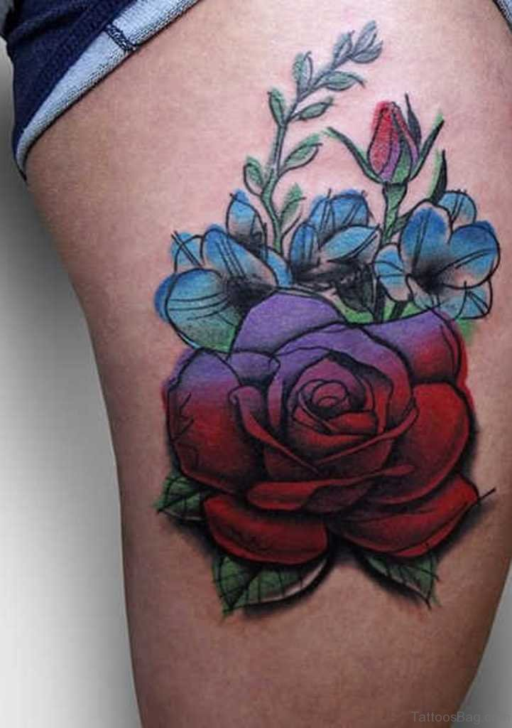 Evergreen Flowers Tattoos On Thigh Ideas And Designs
