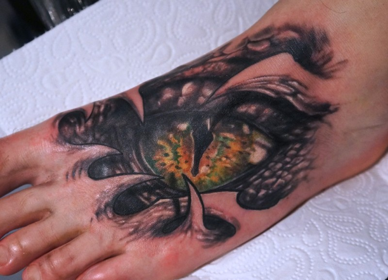 Snake Eyes Tattoo On The Foot By Graynd Tattooimages Biz Ideas And Designs