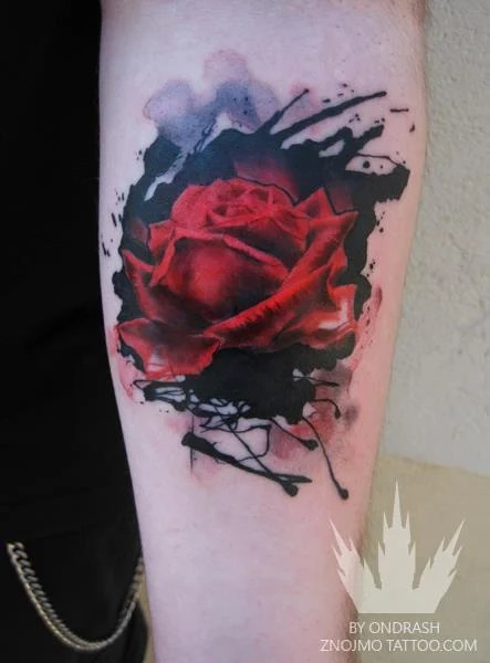 An Abstract Watercolor Tattoo Of A Red Rose Flower By Ideas And Designs