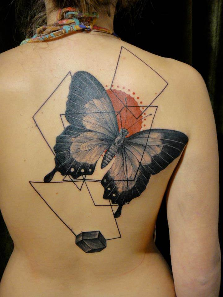 Tattoo Artist Xoil Combines A Butterfly With Graphic Ideas And Designs