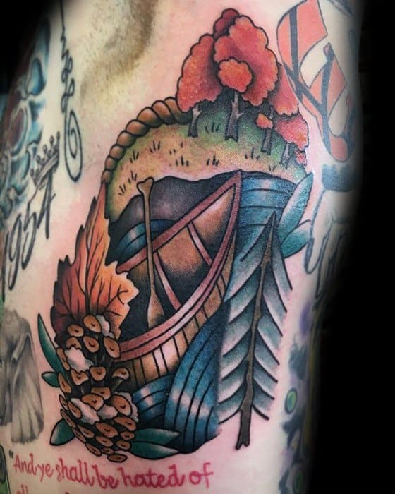 40 Canoe Tattoo Designs For Men Kayak Ink Ideas Ideas And Designs