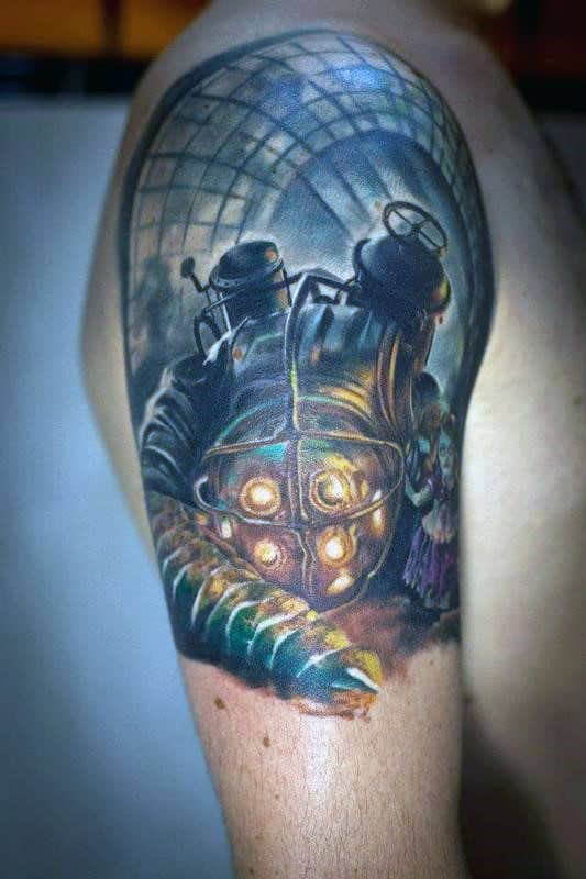 50 Bioshock Tattoo Designs For Men Video Game Ink Ideas Ideas And Designs