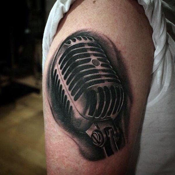 90 Microphone Tattoo Designs For Men Manly Vocal Ink Ideas And Designs