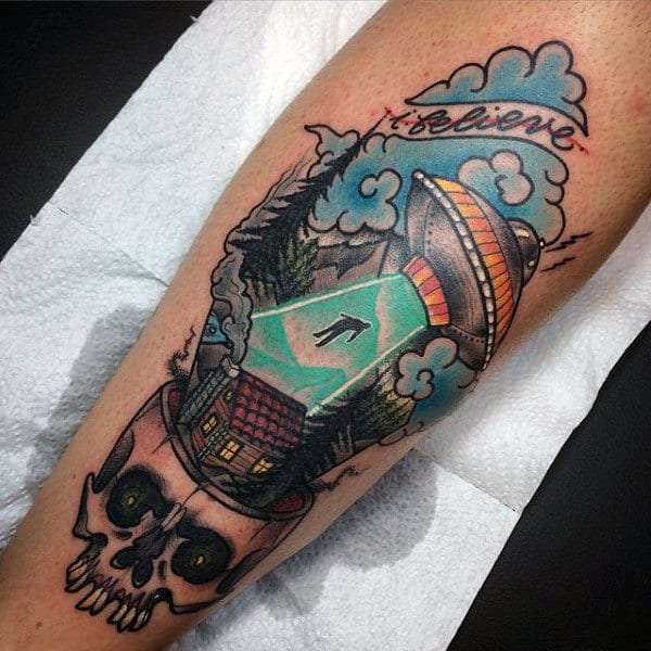 100 Ufo Tattoo Designs For Men Alien Abduction Ink Ideas And Designs