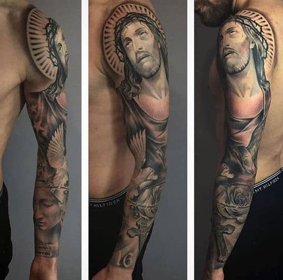 50 Jesus Sleeve Tattoo Designs For Men Religious Ink Ideas Ideas And Designs
