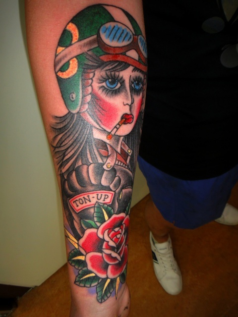 Tattoos By Dave Vartan Ton Up Motor Girl Ideas And Designs