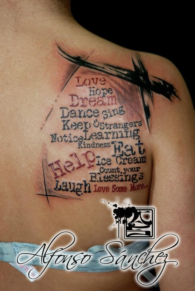 Colorful Artistic Text Back Tattoo Balinese Tattoo Miami Ideas And Designs