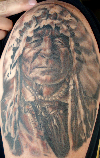 Native American Portait 1 2 Sleeve « Sole Tattoo Ideas And Designs