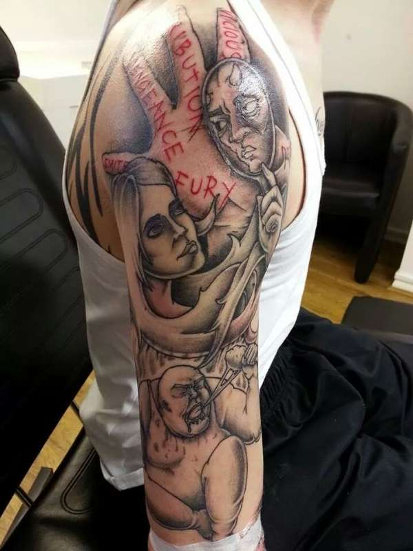 Ongoing Seven Deadly Sins Sleeve Tattoo Ideas And Designs