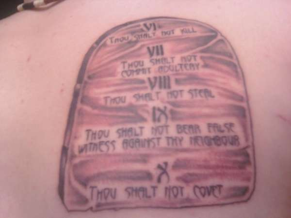 Second Tablet Of The Ten Commandments Tattoo Ideas And Designs