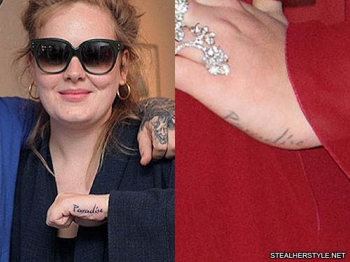 Adele Writing Side Of Hand Tattoo Steal Her Style Ideas And Designs