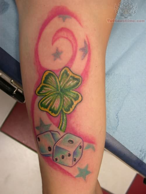 Four Leaf Clover Tattoo Combo With Stars And Dices Design Ideas And Designs
