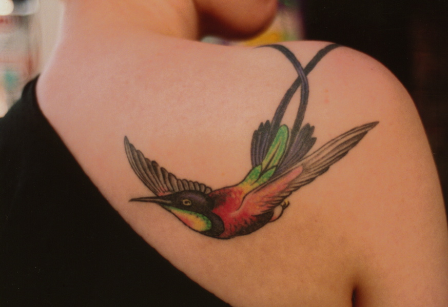 Solo Hummingbird In Vibrant Colors On Shoulder Ideas And Designs