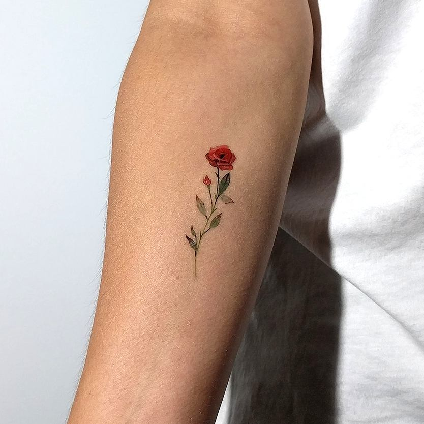 Small Rose Tattoo On The Inner Arm Tattoogrid Net Ideas And Designs